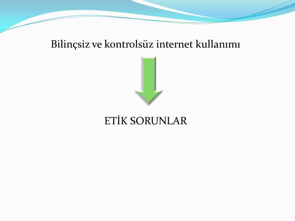 Bilinçsiz ve kontrolsüz internet kullanımı ETİK SORUNLAR