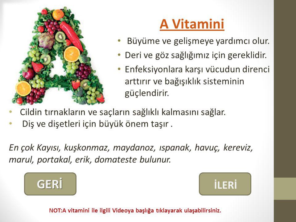 A Vitamini Büyüme ve gelişmeye yardımcı olur.Deri ve göz sağlığımız için gereklidir.