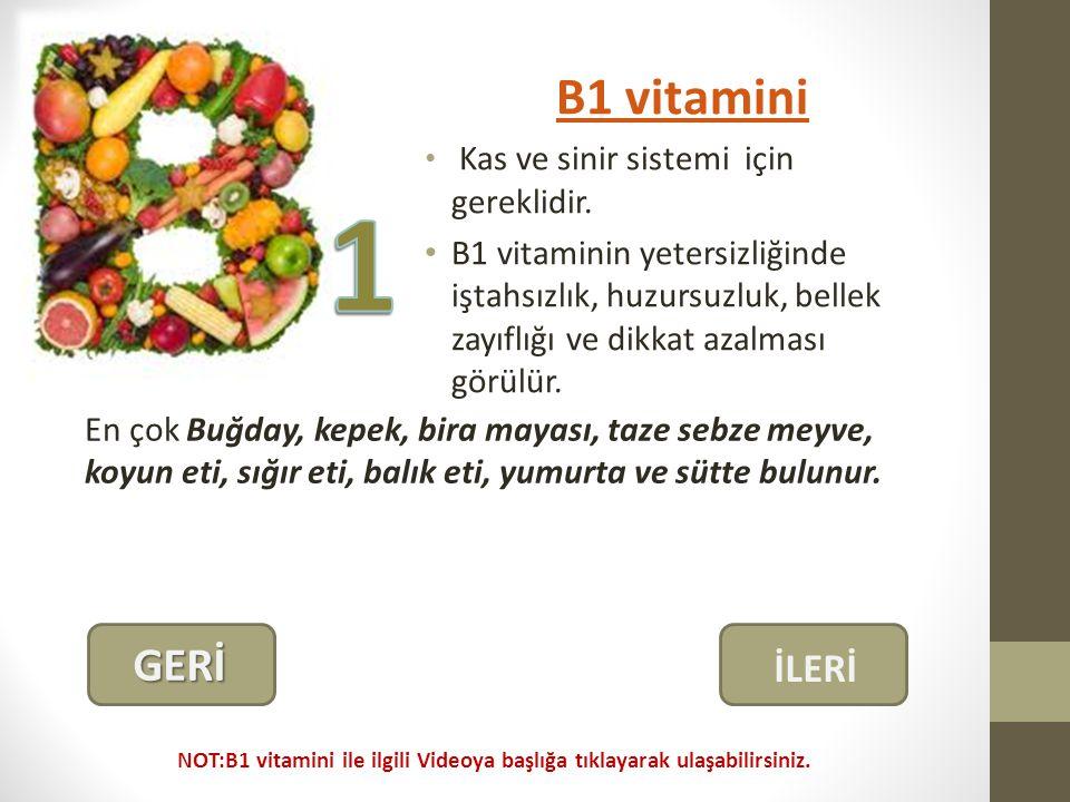 B1 vitamini Kas ve sinir sistemi için gereklidir.
