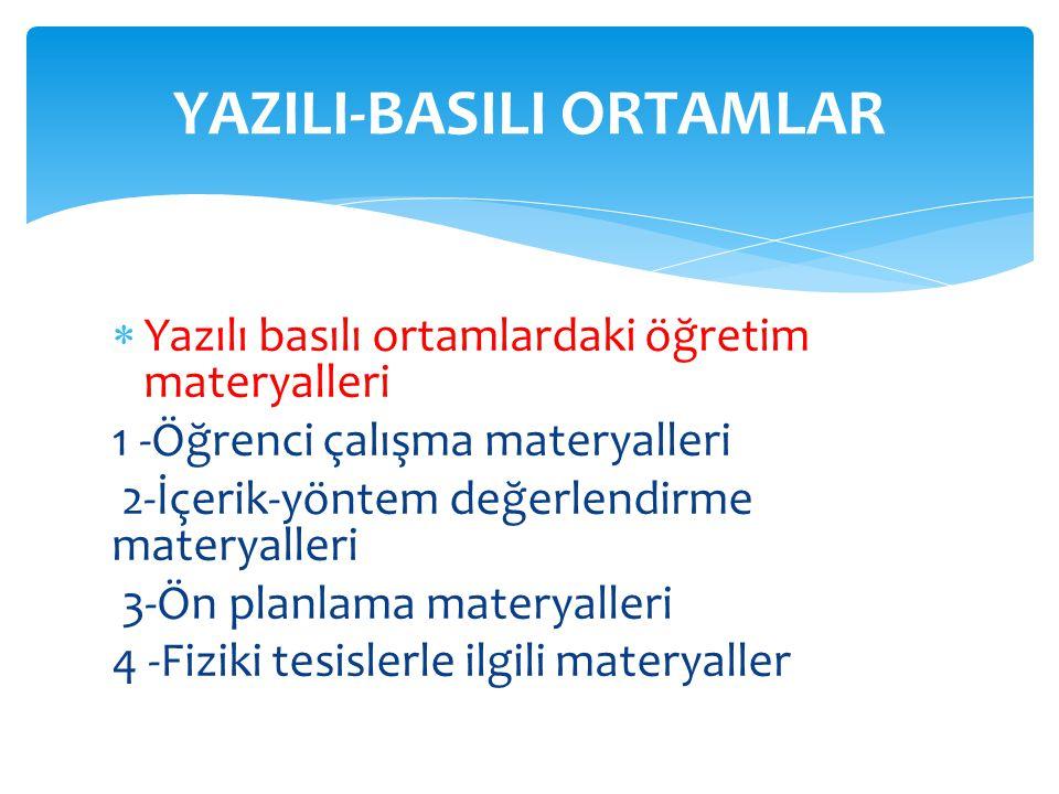  Yazılı basılı ortamlardaki öğretim materyalleri 1 -Öğrenci çalışma materyalleri 2-İçerik-yöntem değerlendirme materyalleri 3-Ön planlama materyaller