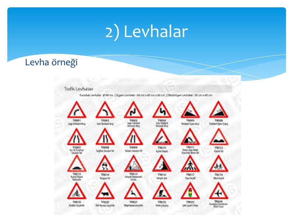 Levha örneği 2) Levhalar