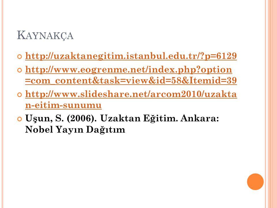 K AYNAKÇA http://uzaktanegitim.istanbul.edu.tr/?p=6129 http://www.eogrenme.net/index.php?option =com_content&task=view&id=58&Itemid=39 http://www.slid