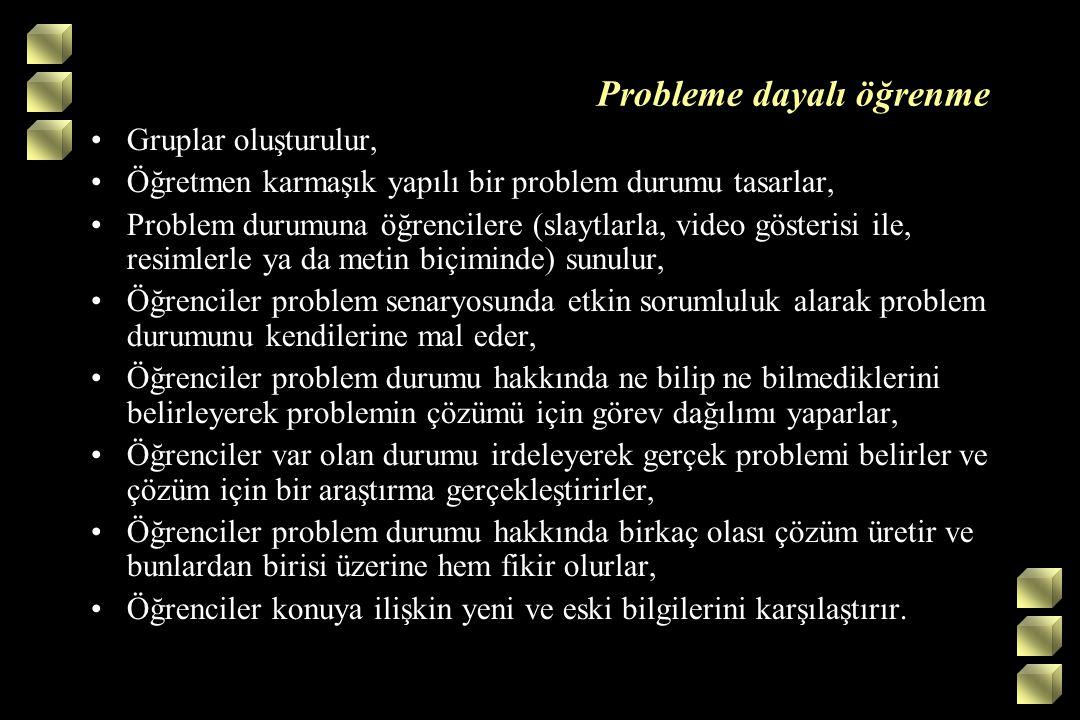 Probleme dayalı öğrenme Gruplar oluşturulur, Öğretmen karmaşık yapılı bir problem durumu tasarlar, Problem durumuna öğrencilere (slaytlarla, video gös