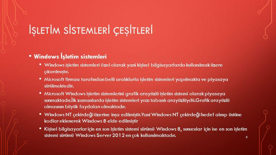 İ ŞLET İ M S İ STEMLER İ ÇEŞ İ TLER İ Windows İ şletim sistemleri Windows işletim sistemleri özel olarak yani kişisel bilgisayarlarda kullanılmak üzer
