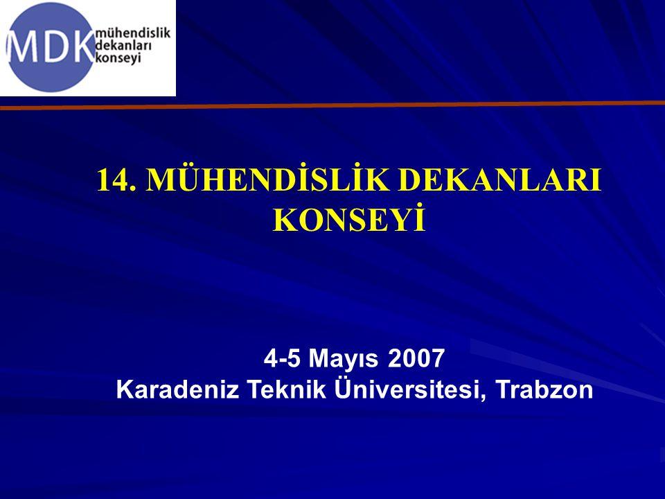 14. MÜHENDİSLİK DEKANLARI KONSEYİ 4-5 Mayıs 2007 Karadeniz Teknik Üniversitesi, Trabzon
