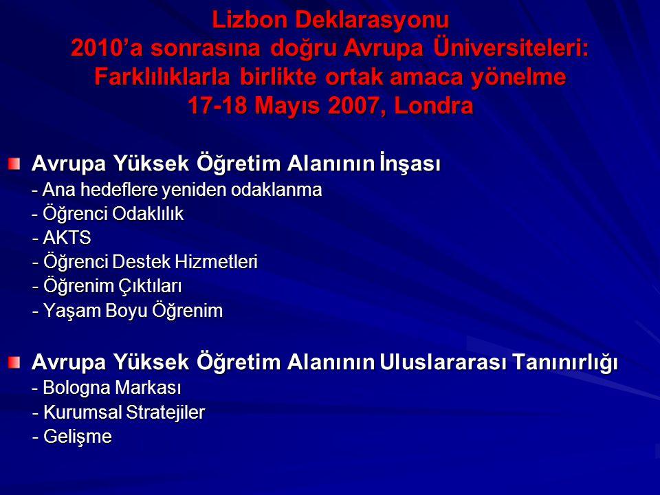 Lizbon Deklarasyonu 2010'a sonrasına doğru Avrupa Üniversiteleri: Farklılıklarla birlikte ortak amaca yönelme 17-18 Mayıs 2007, Londra Avrupa Yüksek Öğretim Alanının İnşası - Ana hedeflere yeniden odaklanma - Öğrenci Odaklılık - AKTS - AKTS - Öğrenci Destek Hizmetleri - Öğrenci Destek Hizmetleri - Öğrenim Çıktıları - Öğrenim Çıktıları - Yaşam Boyu Öğrenim - Yaşam Boyu Öğrenim Avrupa Yüksek Öğretim Alanının Uluslararası Tanınırlığı - Bologna Markası - Kurumsal Stratejiler - Kurumsal Stratejiler - Gelişme - Gelişme