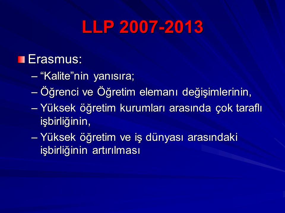LLP 2007-2013 Erasmus: – Kalite nin yanısıra; –Öğrenci ve Öğretim elemanı değişimlerinin, –Yüksek öğretim kurumları arasında çok taraflı işbirliğinin, –Yüksek öğretim ve iş dünyası arasındaki işbirliğinin artırılması