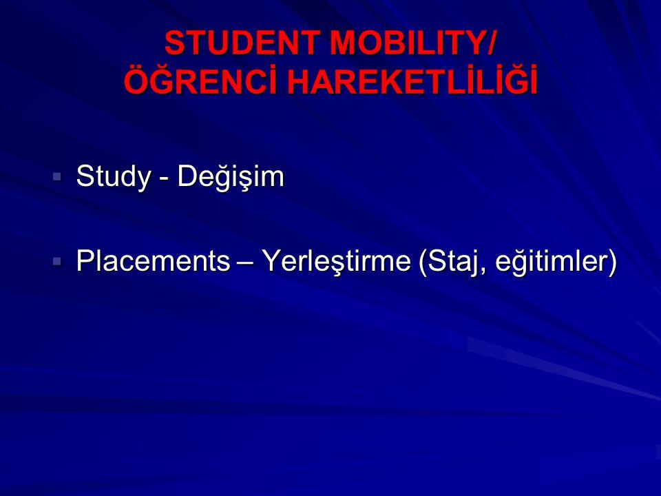 STUDENT MOBILITY/ ÖĞRENCİ HAREKETLİLİĞİ  Study - Değişim  Placements – Yerleştirme (Staj, eğitimler)