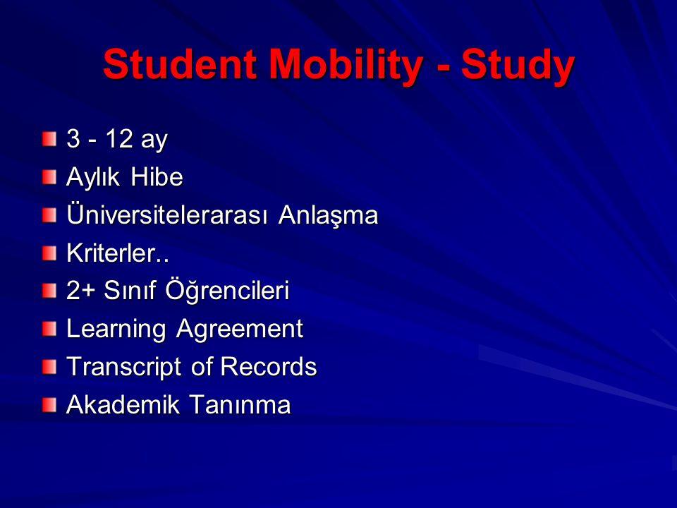 Student Mobility - Study 3 - 12 ay Aylık Hibe Üniversitelerarası Anlaşma Kriterler..