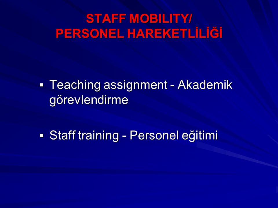 STAFF MOBILITY/ PERSONEL HAREKETLİLİĞİ  Teaching assignment - Akademik görevlendirme  Staff training - Personel eğitimi