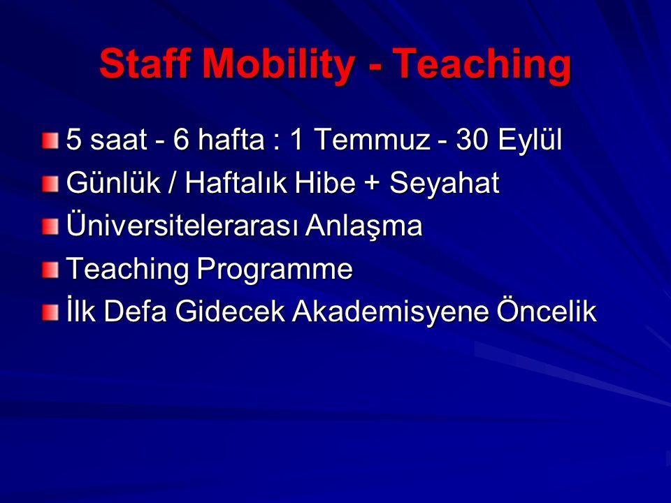 Staff Mobility - Teaching 5 saat - 6 hafta : 1 Temmuz - 30 Eylül Günlük / Haftalık Hibe + Seyahat Üniversitelerarası Anlaşma Teaching Programme İlk Defa Gidecek Akademisyene Öncelik