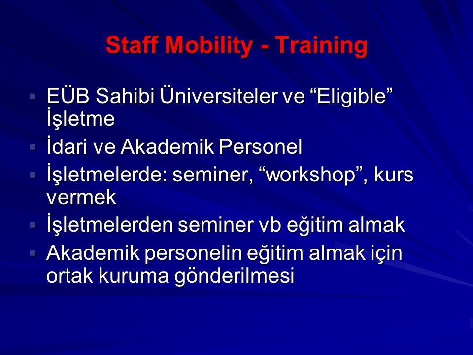 Staff Mobility - Training  EÜB Sahibi Üniversiteler ve Eligible İşletme  İdari ve Akademik Personel  İşletmelerde: seminer, workshop , kurs vermek  İşletmelerden seminer vb eğitim almak  Akademik personelin eğitim almak için ortak kuruma gönderilmesi