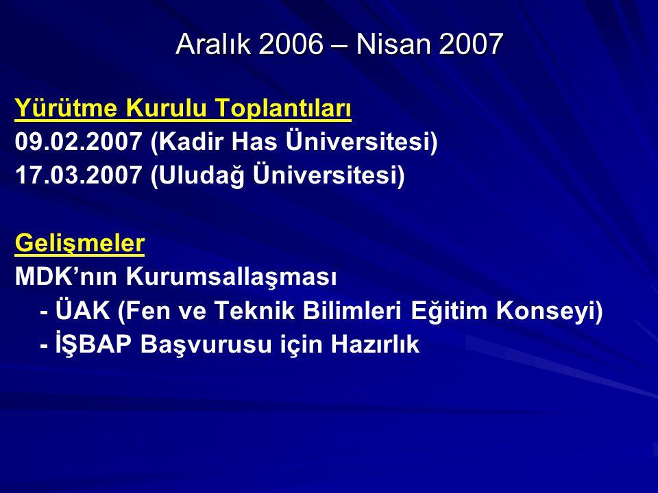 Aralık 2006 – Nisan 2007 Yürütme Kurulu Toplantıları 09.02.2007 (Kadir Has Üniversitesi) 17.03.2007 (Uludağ Üniversitesi) Gelişmeler MDK'nın Kurumsallaşması - ÜAK (Fen ve Teknik Bilimleri Eğitim Konseyi) - İŞBAP Başvurusu için Hazırlık