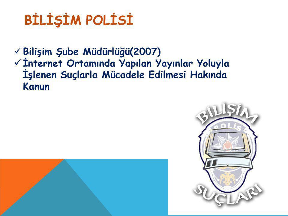BİLİŞİM POLİSİ Bilişim Şube Müdürlüğü(2007) İnternet Ortamında Yapılan Yayınlar Yoluyla İşlenen Suçlarla Mücadele Edilmesi Hakında Kanun