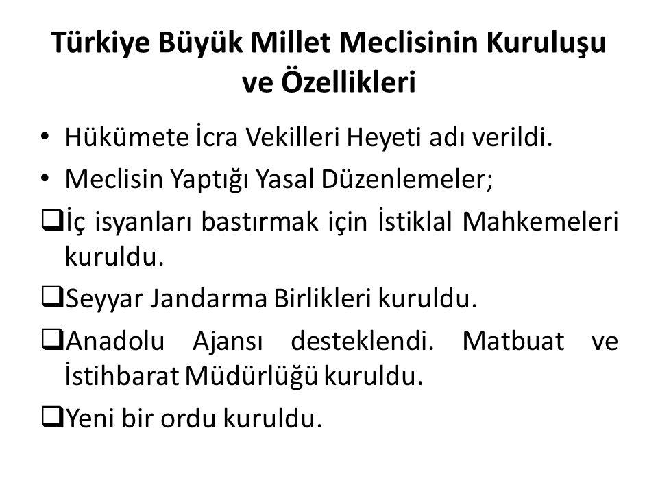 Türkiye Büyük Millet Meclisinin Kuruluşu ve Özellikleri Hükümete İcra Vekilleri Heyeti adı verildi. Meclisin Yaptığı Yasal Düzenlemeler;  İç isyanlar
