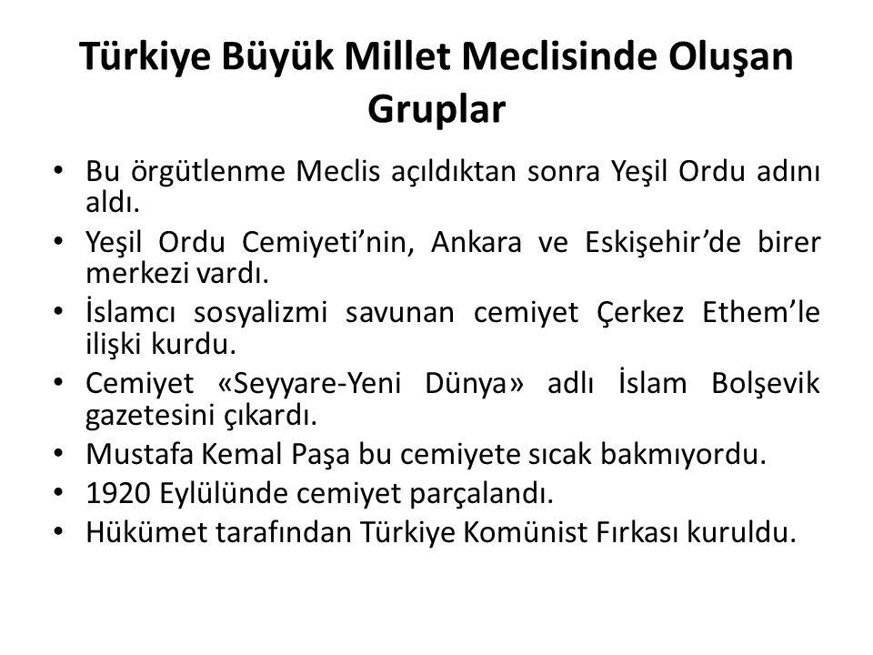 Türkiye Büyük Millet Meclisinde Oluşan Gruplar Bu örgütlenme Meclis açıldıktan sonra Yeşil Ordu adını aldı. Yeşil Ordu Cemiyeti'nin, Ankara ve Eskişeh