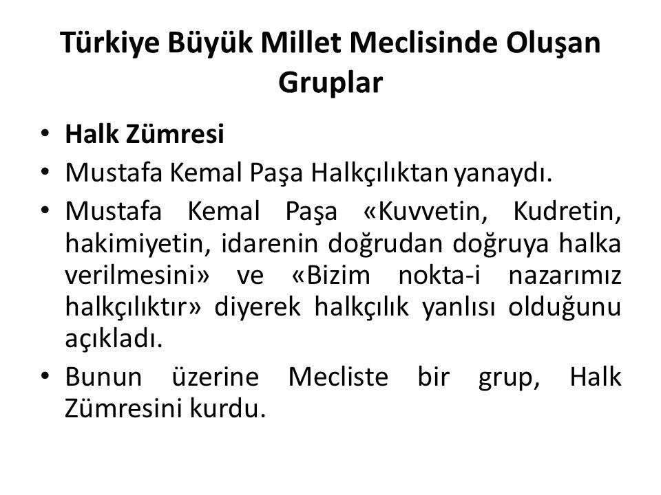 Türkiye Büyük Millet Meclisinde Oluşan Gruplar Halk Zümresi Mustafa Kemal Paşa Halkçılıktan yanaydı. Mustafa Kemal Paşa «Kuvvetin, Kudretin, hakimiyet