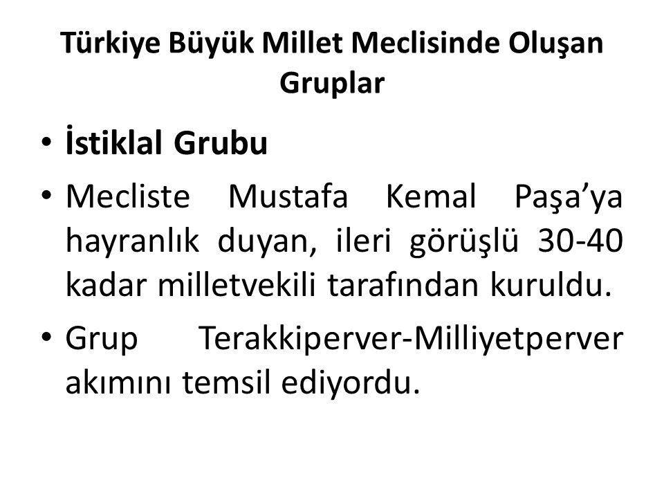 Türkiye Büyük Millet Meclisinde Oluşan Gruplar İstiklal Grubu Mecliste Mustafa Kemal Paşa'ya hayranlık duyan, ileri görüşlü 30-40 kadar milletvekili t