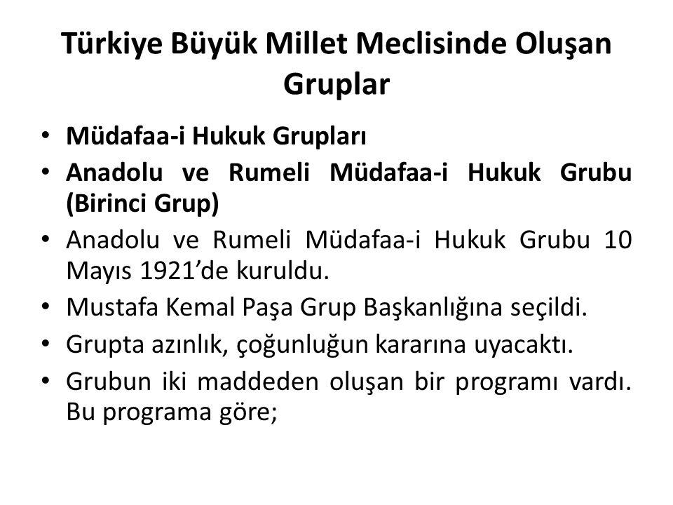 Türkiye Büyük Millet Meclisinde Oluşan Gruplar Müdafaa-i Hukuk Grupları Anadolu ve Rumeli Müdafaa-i Hukuk Grubu (Birinci Grup) Anadolu ve Rumeli Müdaf