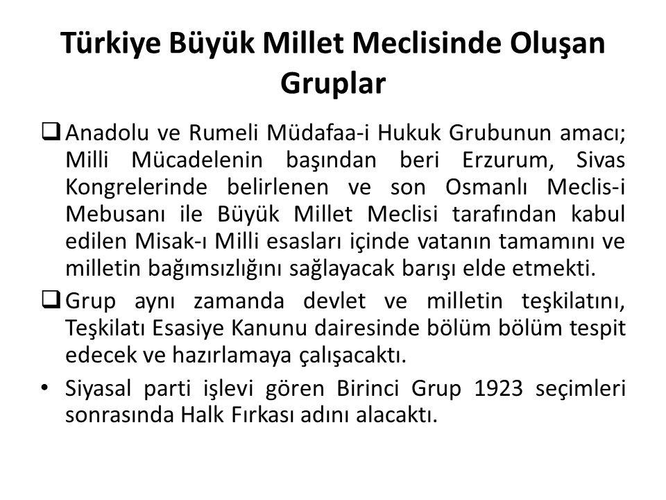 Türkiye Büyük Millet Meclisinde Oluşan Gruplar  Anadolu ve Rumeli Müdafaa-i Hukuk Grubunun amacı; Milli Mücadelenin başından beri Erzurum, Sivas Kong