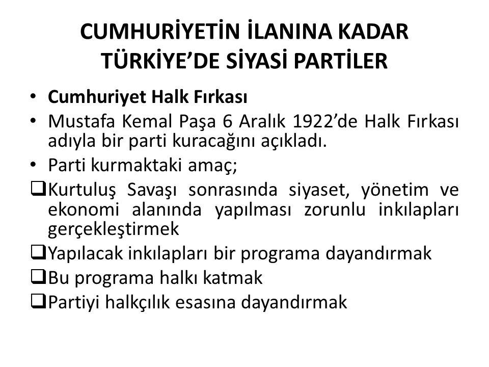 CUMHURİYETİN İLANINA KADAR TÜRKİYE'DE SİYASİ PARTİLER Cumhuriyet Halk Fırkası Mustafa Kemal Paşa 6 Aralık 1922'de Halk Fırkası adıyla bir parti kuraca