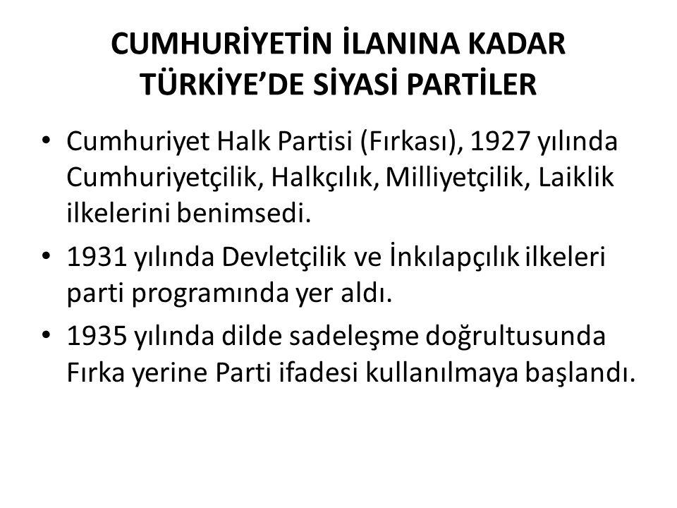CUMHURİYETİN İLANINA KADAR TÜRKİYE'DE SİYASİ PARTİLER Cumhuriyet Halk Partisi (Fırkası), 1927 yılında Cumhuriyetçilik, Halkçılık, Milliyetçilik, Laikl