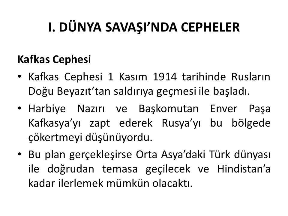 I. DÜNYA SAVAŞI'NDA CEPHELER Kafkas Cephesi Kafkas Cephesi 1 Kasım 1914 tarihinde Rusların Doğu Beyazıt'tan saldırıya geçmesi ile başladı. Harbiye Naz
