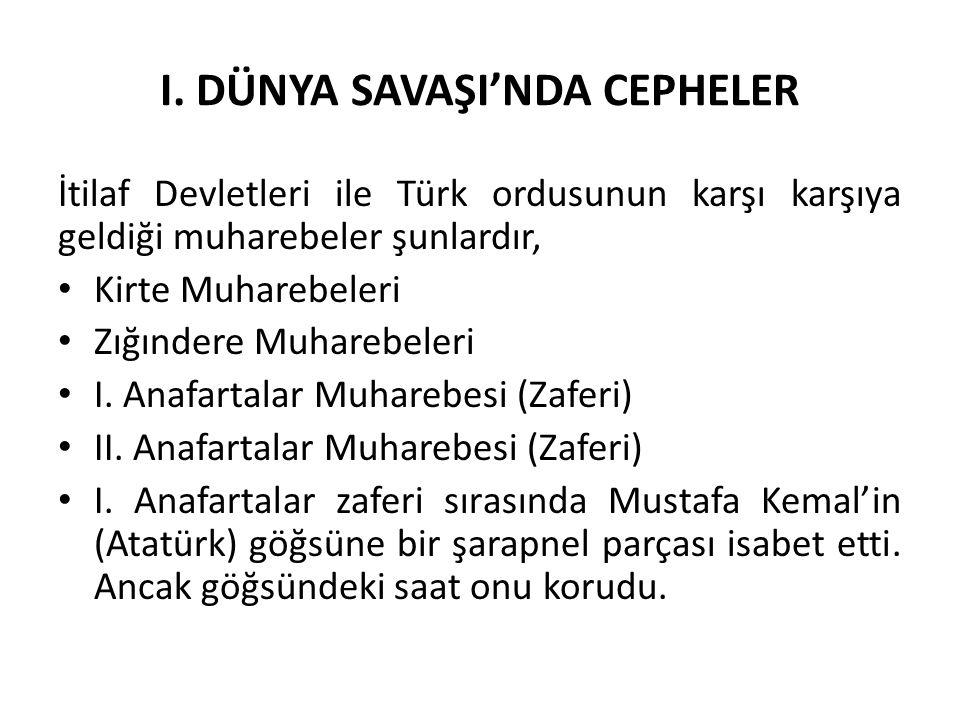 I. DÜNYA SAVAŞI'NDA CEPHELER İtilaf Devletleri ile Türk ordusunun karşı karşıya geldiği muharebeler şunlardır, Kirte Muharebeleri Zığındere Muharebele
