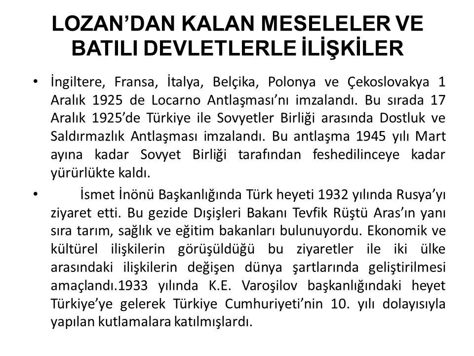 LOZAN'DAN KALAN MESELELER VE BATILI DEVLETLERLE İLİŞKİLER İngiltere, Fransa, İtalya, Belçika, Polonya ve Çekoslovakya 1 Aralık 1925 de Locarno Antlaşması'nı imzalandı.