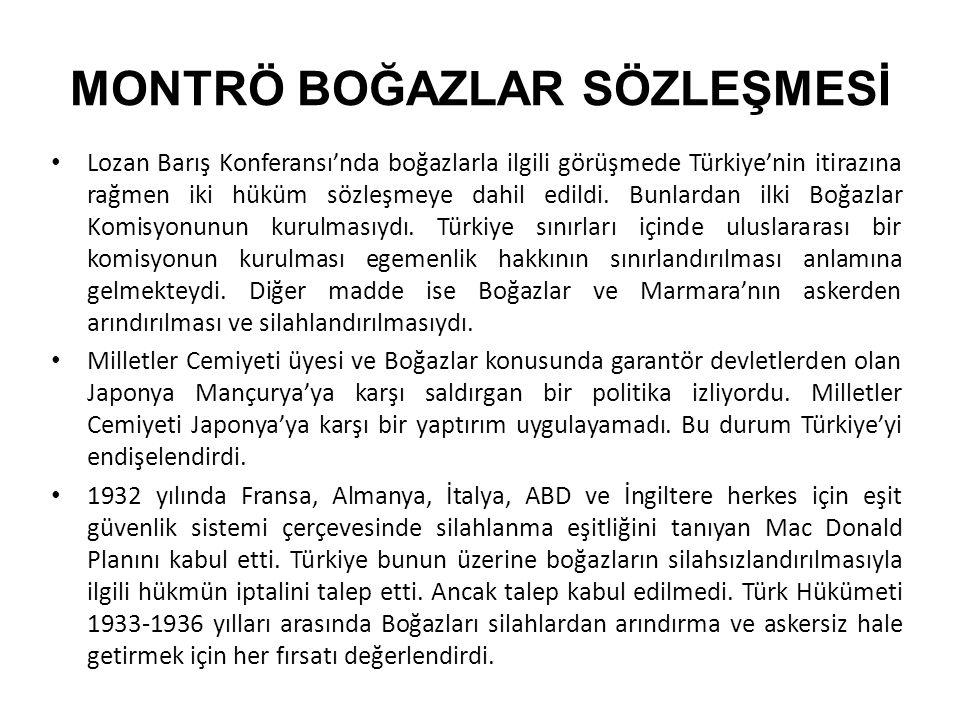 MONTRÖ BOĞAZLAR SÖZLEŞMESİ Lozan Barış Konferansı'nda boğazlarla ilgili görüşmede Türkiye'nin itirazına rağmen iki hüküm sözleşmeye dahil edildi. Bunl