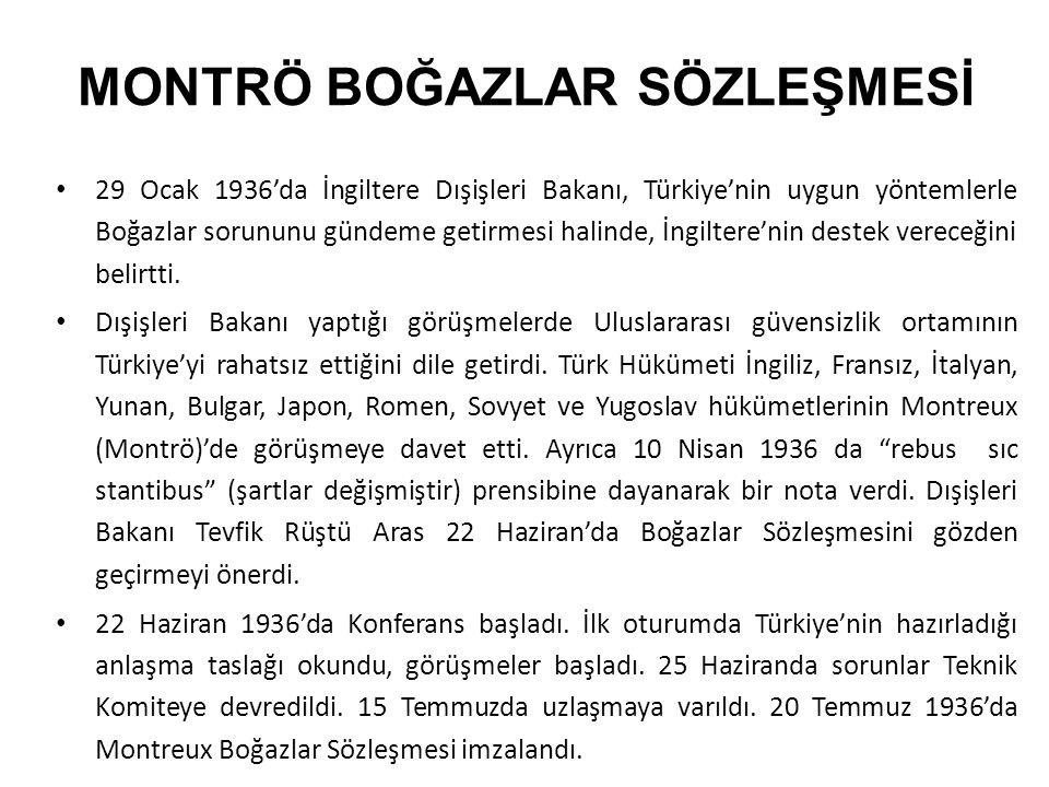 MONTRÖ BOĞAZLAR SÖZLEŞMESİ 29 Ocak 1936'da İngiltere Dışişleri Bakanı, Türkiye'nin uygun yöntemlerle Boğazlar sorununu gündeme getirmesi halinde, İngiltere'nin destek vereceğini belirtti.