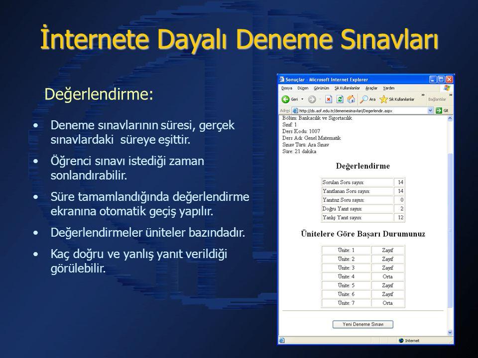 İnternete Dayalı Deneme Sınavları Deneme sınavlarının süresi, gerçek sınavlardaki süreye eşittir.