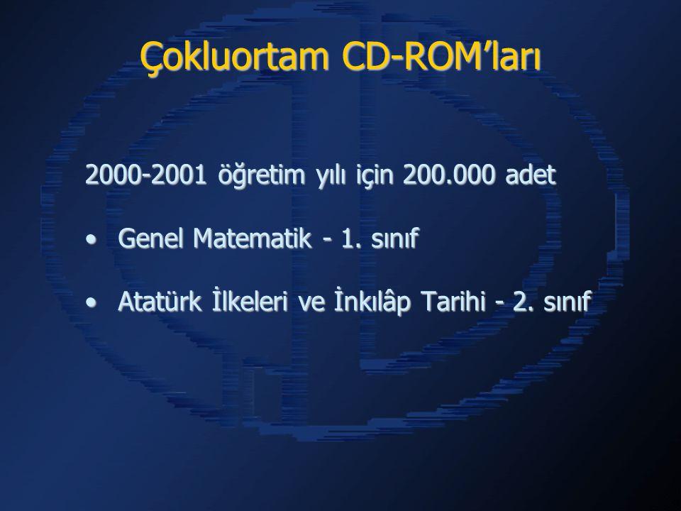 Çokluortam CD-ROM'ları 2000-2001 öğretim yılı için 200.000 adet Genel Matematik - 1. sınıfGenel Matematik - 1. sınıf Atatürk İlkeleri ve İnkılâp Tarih