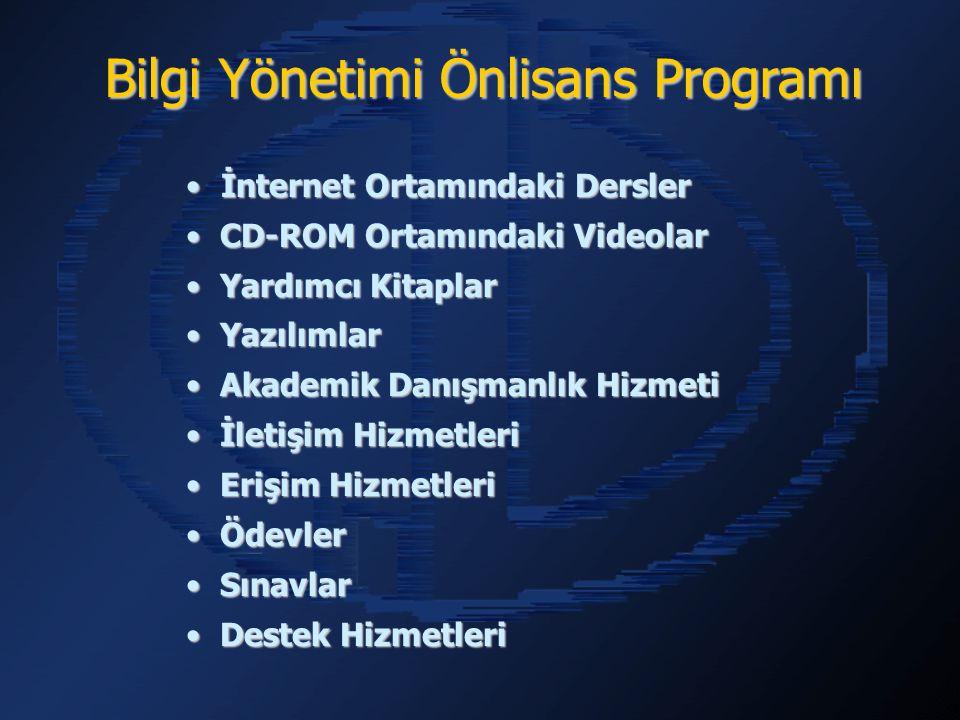 İnternet Ortamındaki Dersler İnternet Ortamındaki Dersler CD-ROM Ortamındaki Videolar CD-ROM Ortamındaki Videolar Yardımcı Kitaplar Yardımcı Kitaplar Yazılımlar Yazılımlar Akademik Danışmanlık Hizmeti Akademik Danışmanlık Hizmeti İletişim Hizmetleri İletişim Hizmetleri Erişim Hizmetleri Erişim Hizmetleri Ödevler Ödevler Sınavlar Sınavlar Destek Hizmetleri Destek Hizmetleri Bilgi Yönetimi Önlisans Programı