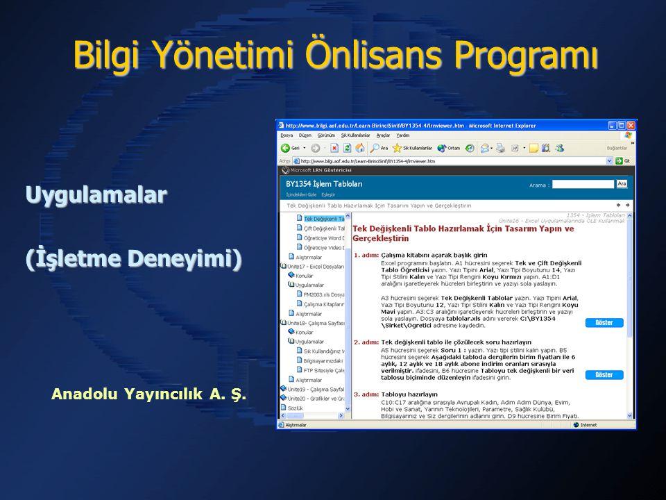 Bilgi Yönetimi Önlisans Programı Uygulamalar (İşletme Deneyimi) Anadolu Yayıncılık A. Ş.