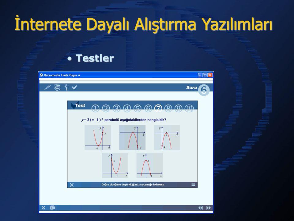 İnternete Dayalı Alıştırma Yazılımları Testler Testler