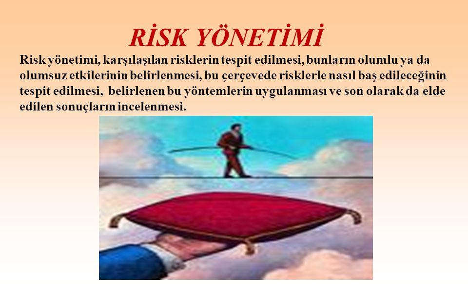 RİSK YÖNETİMİ Risk yönetimi, karşılaşılan risklerin tespit edilmesi, bunların olumlu ya da olumsuz etkilerinin belirlenmesi, bu çerçevede risklerle na