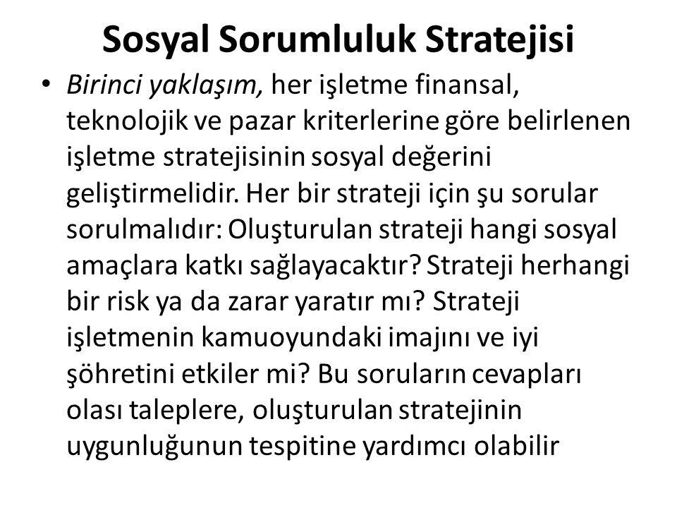 Sosyal Sorumluluk Stratejisi İkinci yaklaşım, tüm işletme paydaşlarına yönelik belirli stratejiler geliştirmektir.