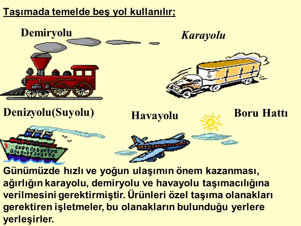 Denizyolu(Suyolu) Demiryolu Havayolu Karayolu Boru Hattı Taşımada temelde beş yol kullanılır; Günümüzde hızlı ve yoğun ulaşımın önem kazanması, ağırlı