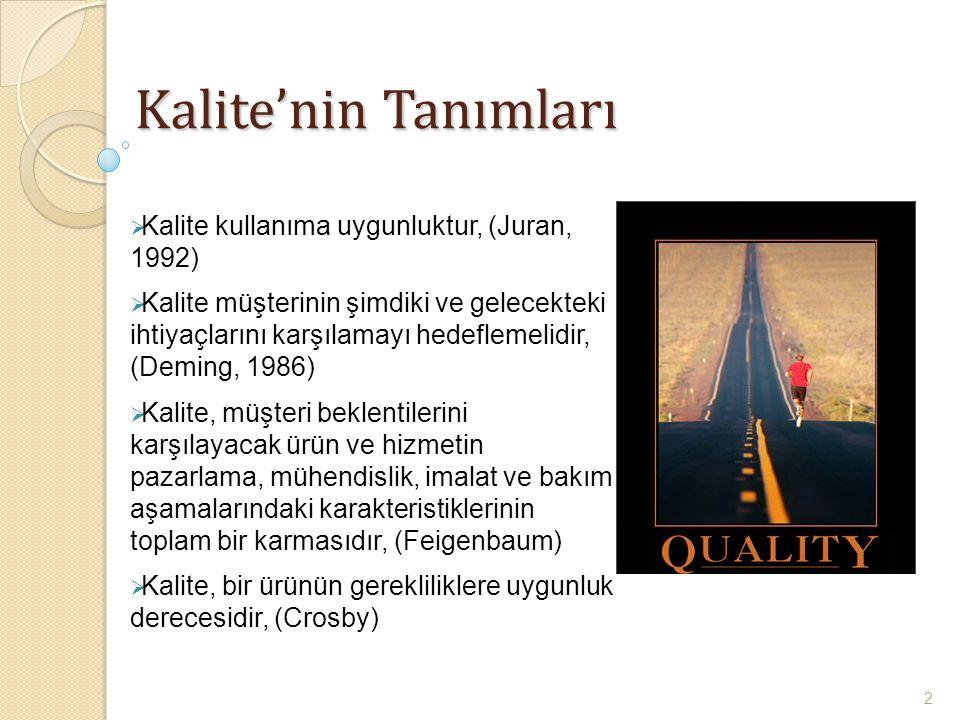  Kalite kullanıma uygunluktur, (Juran, 1992)  Kalite müşterinin şimdiki ve gelecekteki ihtiyaçlarını karşılamayı hedeflemelidir, (Deming, 1986)  Ka