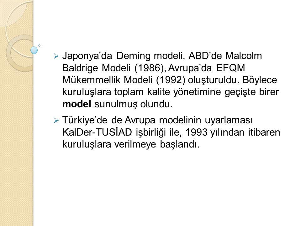  Japonya'da Deming modeli, ABD'de Malcolm Baldrige Modeli (1986), Avrupa'da EFQM Mükemmellik Modeli (1992) oluşturuldu. Böylece kuruluşlara toplam ka