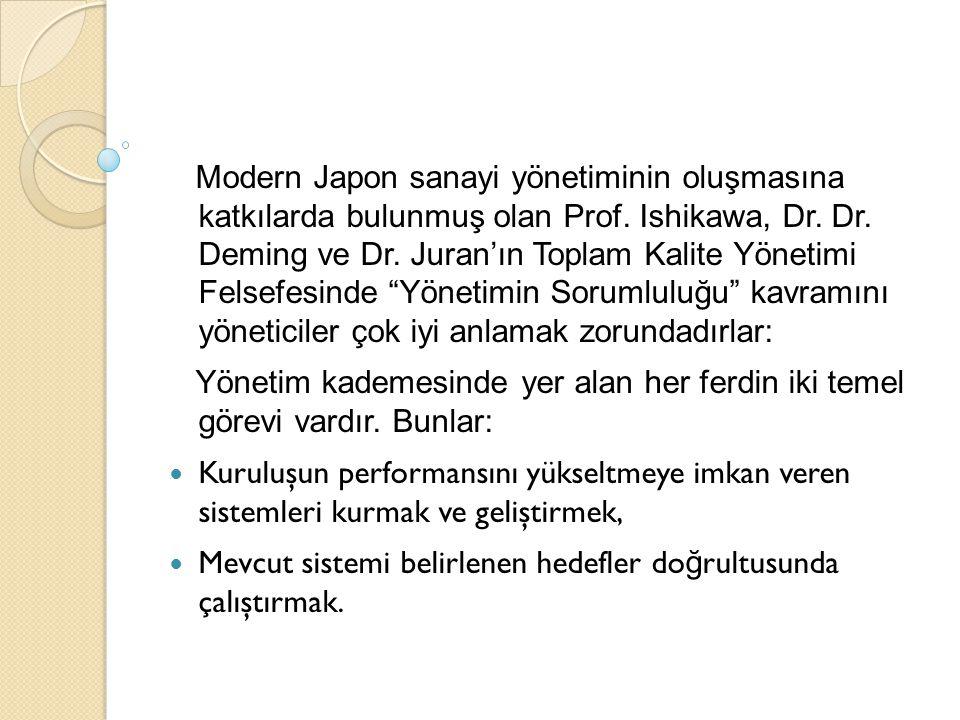 Modern Japon sanayi yönetiminin oluşmasına katkılarda bulunmuş olan Prof. Ishikawa, Dr. Dr. Deming ve Dr. Juran'ın Toplam Kalite Yönetimi Felsefesinde