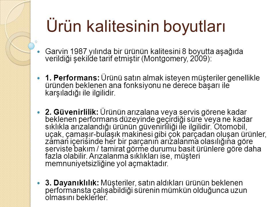 Ürün kalitesinin boyutları Garvin 1987 yılında bir ürünün kalitesini 8 boyutta aşağıda verildiği şekilde tarif etmiştir (Montgomery, 2009): 1. Perform