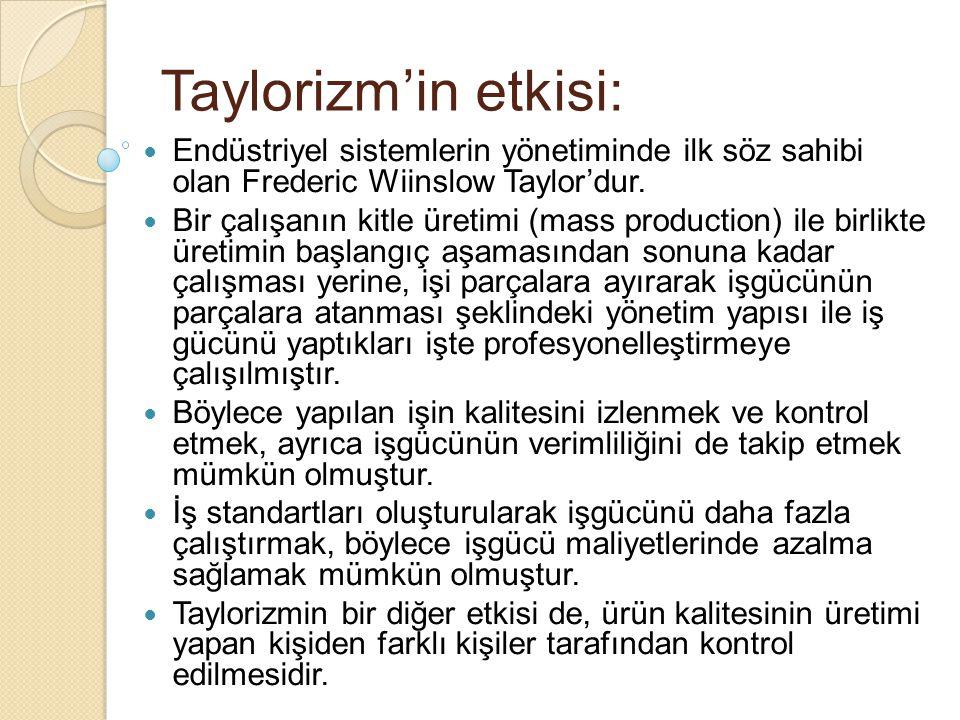 Taylorizm'in etkisi: Endüstriyel sistemlerin yönetiminde ilk söz sahibi olan Frederic Wiinslow Taylor'dur. Bir çalışanın kitle üretimi (mass productio