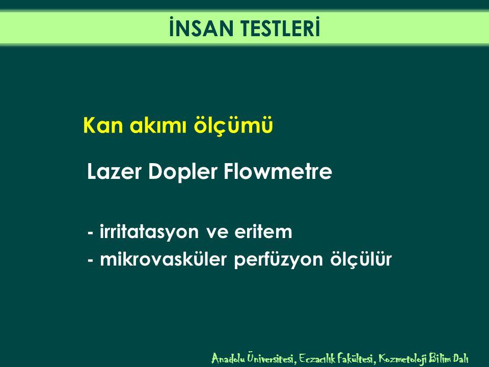 Kan akımı ölçümü Lazer Dopler Flowmetre - irritatasyon ve eritem - mikrovasküler perfüzyon ölçülür Anadolu Üniversitesi, Eczacılık Fakültesi, Kozmetoloji Bilim Dalı