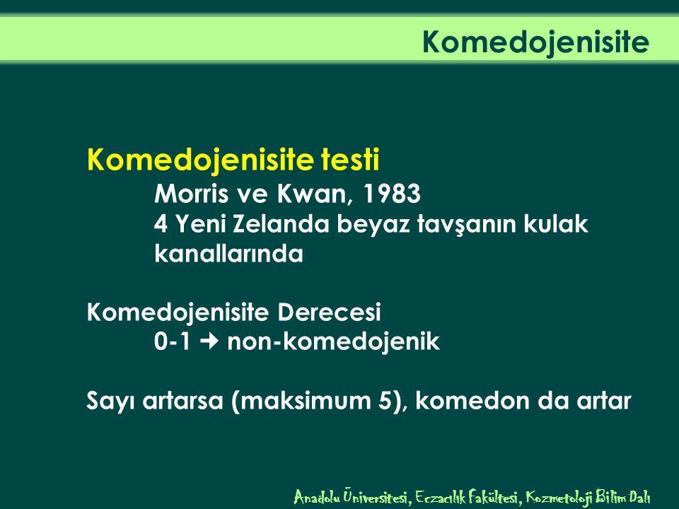 Komedojenisite testi Morris ve Kwan, 1983 4 Yeni Zelanda beyaz tavşanın kulak kanallarında Komedojenisite Derecesi 0-1 non-komedojenik Sayı artarsa (maksimum 5), komedon da artar Komedojenisite Anadolu Üniversitesi, Eczacılık Fakültesi, Kozmetoloji Bilim Dalı