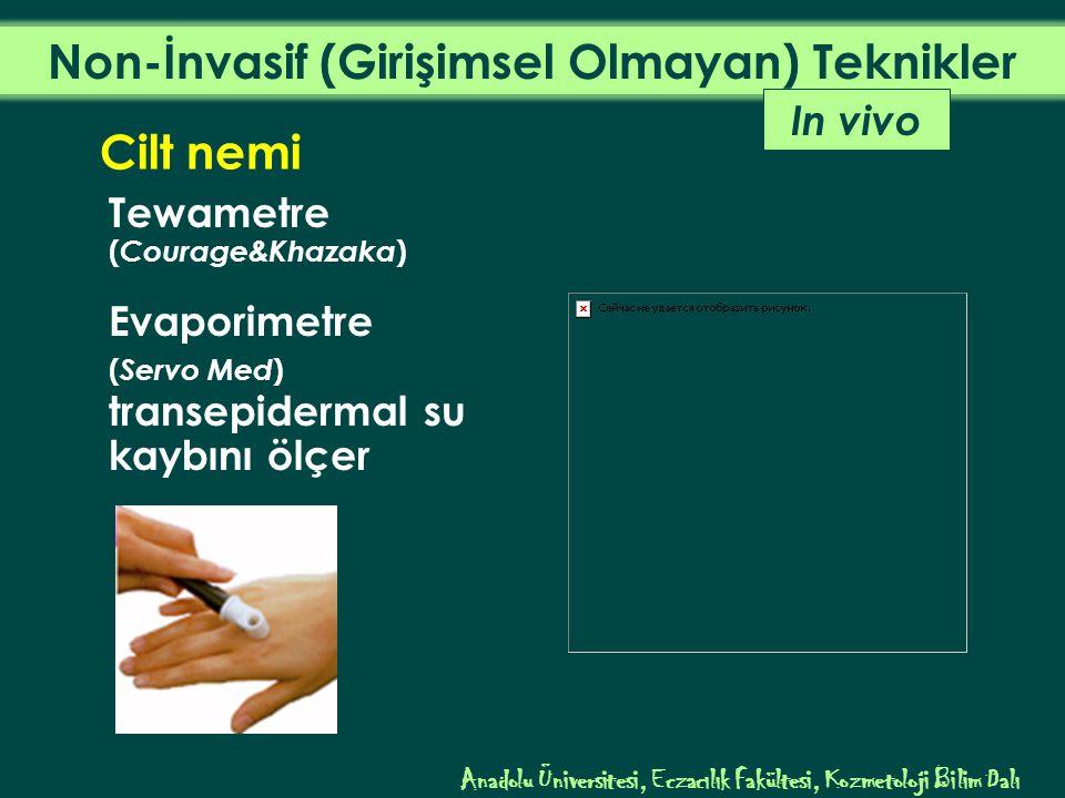 Anadolu Üniversitesi, Eczacılık Fakültesi, Kozmetoloji Bilim Dalı In vivo Cilt nemi Tewametre ( Courage&Khazaka ) Evaporimetre ( Servo Med ) transepidermal su kaybını ölçer