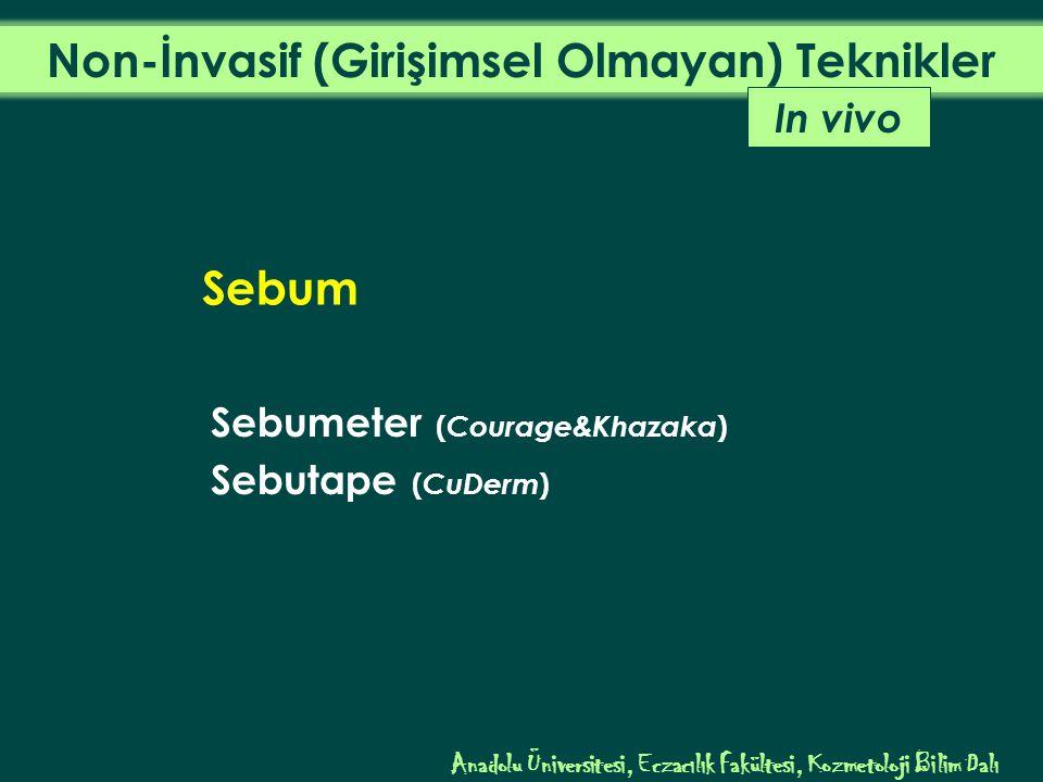 Sebumeter ( Courage&Khazaka ) Sebutape ( CuDerm ) In vivo Sebum Anadolu Üniversitesi, Eczacılık Fakültesi, Kozmetoloji Bilim Dalı