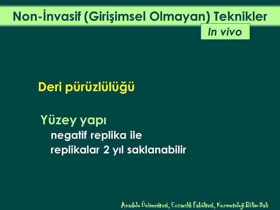 Yüzey yapı negatif replika ile replikalar 2 yıl saklanabilir In vivo Anadolu Üniversitesi, Eczacılık Fakültesi, Kozmetoloji Bilim Dalı Deri pürüzlülüğü
