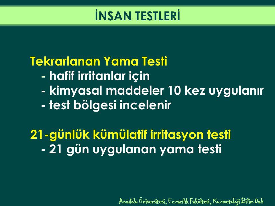 Tekrarlanan Yama Testi - hafif irritanlar için - kimyasal maddeler 10 kez uygulanır - test bölgesi incelenir 21-günlük kümülatif irritasyon testi - 21 gün uygulanan yama testi Anadolu Üniversitesi, Eczacılık Fakültesi, Kozmetoloji Bilim Dalı